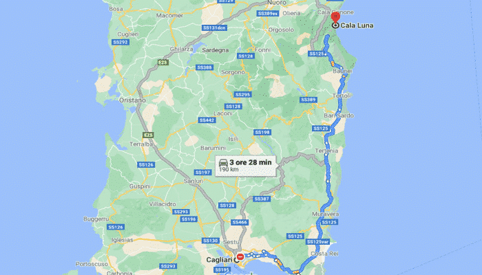 cala luna Sardegna da Cagliari